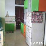 lemari dapur warna hijau orange
