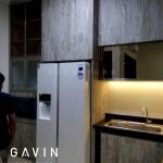 lemari dapur minimalis motif kayu