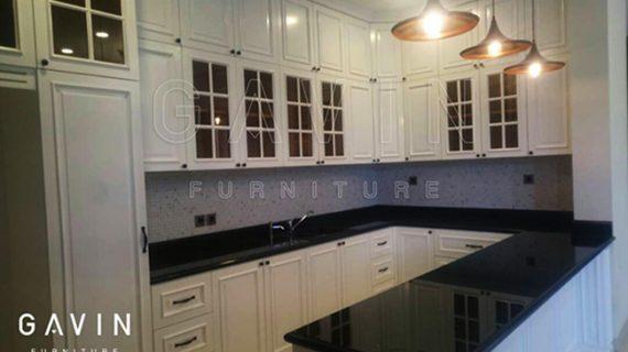 lemari dapur bersih dengan minibar finishing duco