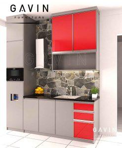 design kabinet dapur bersih minimalis modern dengan island project pejompongan Q2860