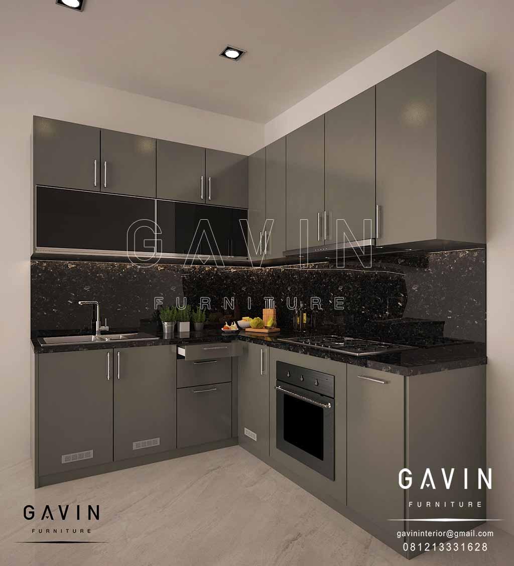design lemari dapur minimalis modern finishing cat duco glossy project di Casajardin Q2682