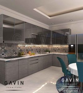 kitchen set gantung design minimalis dengan cermin grey Q2867