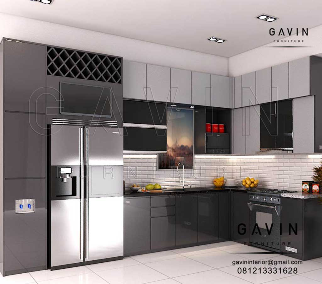 interior dapur minimalis modern warna dark grey