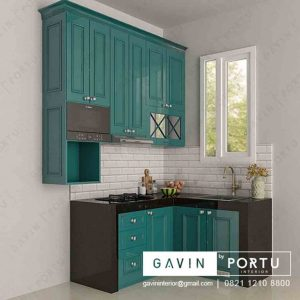 buat kitchen set klasik finishing duco hijau project Jagakarsa Q3169
