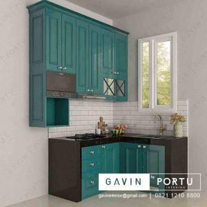 buat kitchen set klasik finishing duco hijau project Jagakarsa Q3169