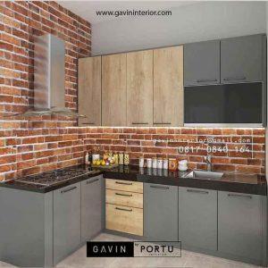 Model Kitchen set kombinasi HPL abu dan motif kayu ID3669P