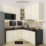 buat kitchen set design minimalis letter L id3520