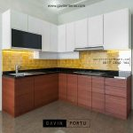 pembuatan kitchen set minimalis letter L kombinasi finishing id3330