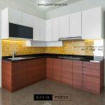 pembuatan kitchen set minimalis letter L kombinasi finishing id3330