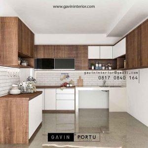 set minimalis two-tone dengan warna putih kombinasi kayu id4466