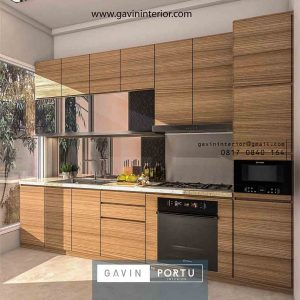Contoh kitchen set finishing HPL motif serat kayu