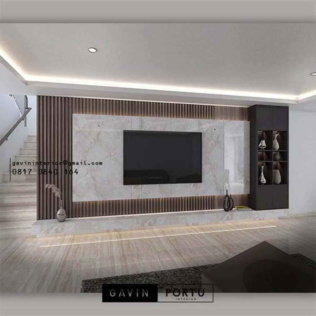 Inspirasi Backdrop Tv Mewah Untuk Ruangan Keluarga ID4842PT