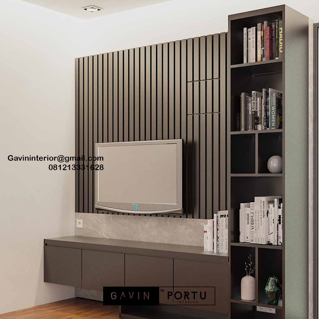 Backdrop TV Mewah Minimalis Grey Perumahan Dukuh Bima Kota Legenda Tambun Bekasi ID4855