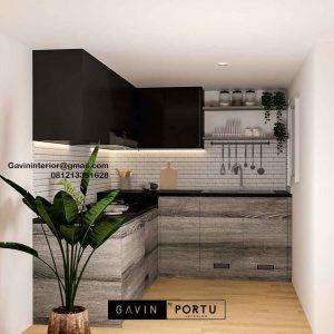 Model Kitchen Set Minimalis Motif Kayu & Black Komplek Agraria Kebayoran Lama Jakarta Id5044
