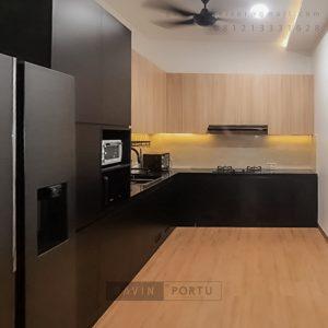Kitchen Set Minimalis Black & Motif Kayu Perumahan Sunrise Garden Kebon Jeruk Jakarta ID5155P