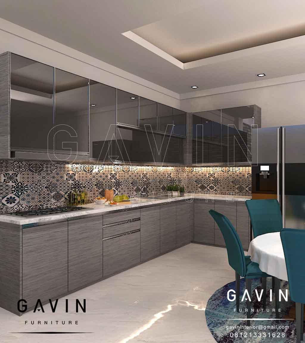 kitchen set gantung design minimalis dengan cermin grey Q2867