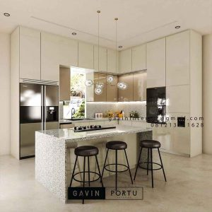 Kitchen set Meja island down draft HPL ID4575PT