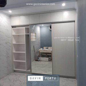 lemari pakaian model sliding kombinasi finishing hpl & kaca cermin