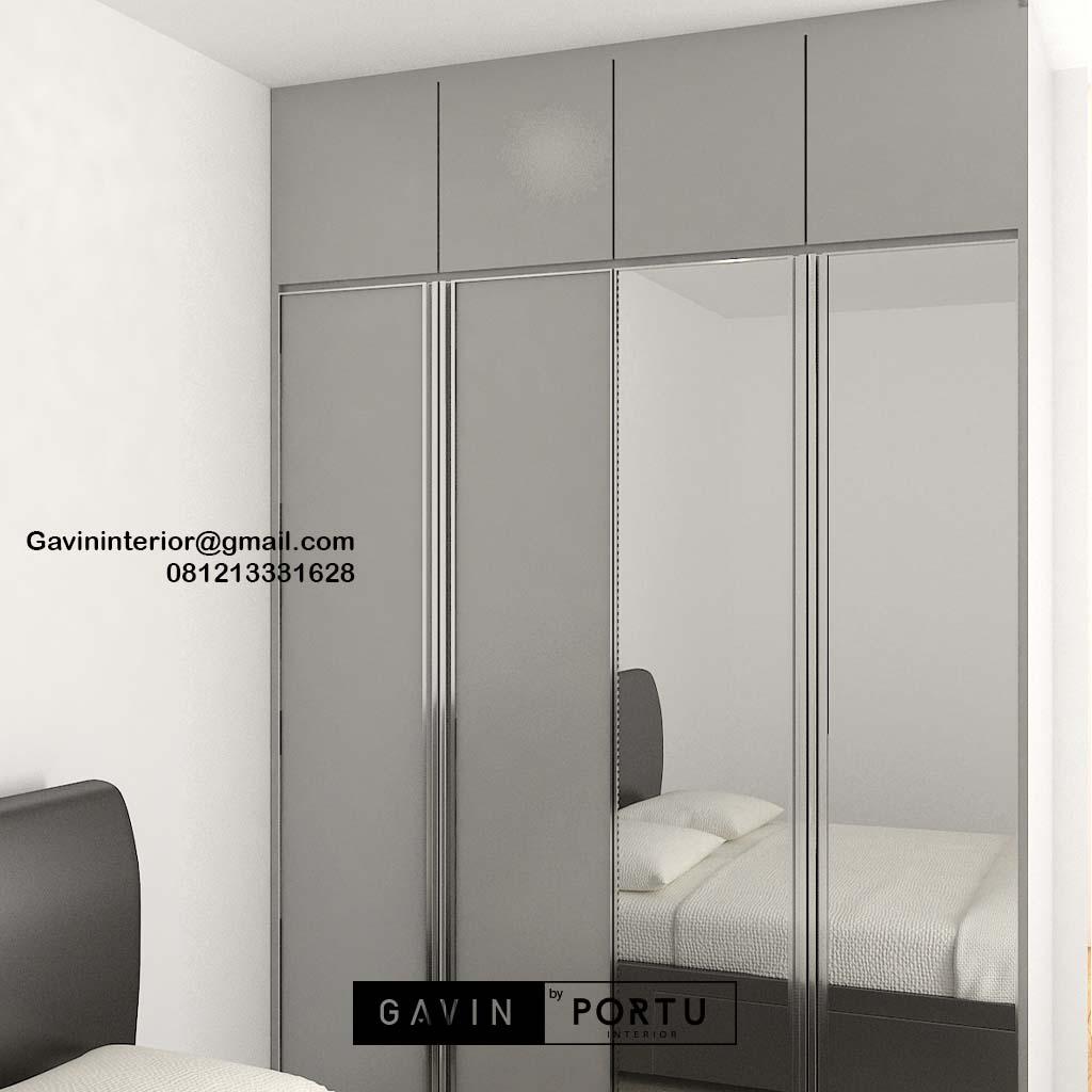 Lemari Pakaian Pintu Swing Light Grey Apartemen Veranda Residence at Puri Kembangan Id4883pt